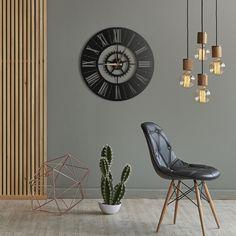 Metal Wall Clock - When combined with beautiful lightnings on dark colored walls, Europa Metal Clock can create an elegant look. Metal Wall Decor, Metal Wall Art, Metal Clock, Inspirational Wall Art, Unique Home Decor, Home Decor Inspiration, Wall Colors, Metal Walls, Wall Signs