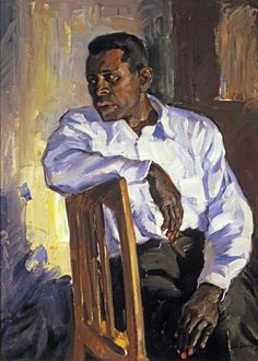 Portrait of Paul Robeson (1898-1976) American singer, actor, athlete and civil rights activist. Painted by Randall Davey. 1920-25 oil on canvas. In the collection of The Museum of Fine Arts, St Petersburg, FL.