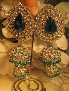 bottle green ear rings