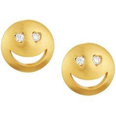 Tai CZ Heart-Eye Emoji Stud Earrings (570 MXN) ❤ liked on Polyvore featuring jewelry, earrings, studs, gold, cubic zirconia stud earrings, cubic zirconia heart earrings, post earrings, heart jewelry and clear earrings