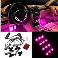 Wish | 4x 3LED Car Charge 12V Glow Interior Decorative 4in1 Atmosphere Light Lamp Blue/Pink/Purple/yellow/Orange