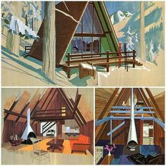 Vintage Cabins | Mid-Century Modern | A-Frame House | Residential Architecture | Home Ideas | Interior Design