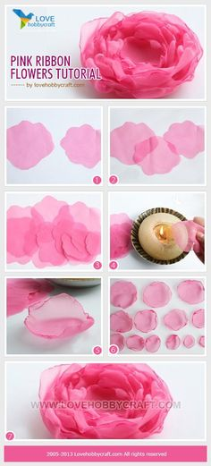 Pink ribbon flowers tutorial