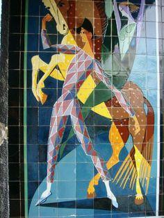 Almada Negreiros, Lisboa Tile Art, Art Gallery, Modern Art, Art Deco Posters, Art Painting, Painting Illustration, Painting, Art, Contemporary Art