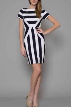 Navy Striped Dress - main