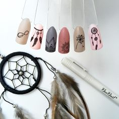 Dream catcher and other symbols on nails pretty things swag nails, acrylic nail Funky Nails, Love Nails, Pretty Nails, Nail Swag, Dream Catcher Nails, Dream Catchers, Nailart, Nail Photos, Nails Pictures
