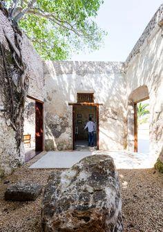 murs en pierre chaux cour interieure jardin sec