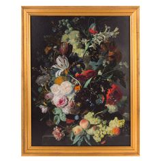 This framed print of Jan van Huysum's Still Life with Flowers and Fruit (c.1715) is part of our Masterworks  collection of reproductions, specially created using the Gallery's  finest quality digital imaging. The image was printed to Gallery specifications and the frame was selected as a style appropriate to the period.   In this superb example of Van Huysum's exuberant arrangements, the bouquet fills the entire  panel. Flowers overflowing their terra-cotta vase and peaches and grapes…