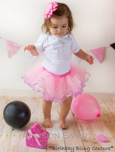 Girls Birthday Light Pink Rhinestone 1st or 2nd Birthday Sequins Tutu Set