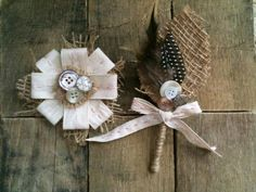 Feather Corsage- Rustic Burlap Boutonniere and Corsage