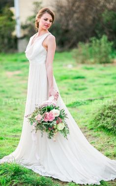 US$123.46-Boho Cowl Neck Sleeveless Long A-Line Chiffon Wedding Dress With Pleats.  http://www.newadoringdress.com/boho-cowl-neck-sleeveless-long-a-line-chiffon-dress-with-pleats-pET_711027.html.  Explore our best wedding dresses & gowns, wedding reception dress collection NewAdoringDress 2016 dress style collection. Free custom-made of any dress design & Free Shipping! #weddingdress #NewAdoringDress.com