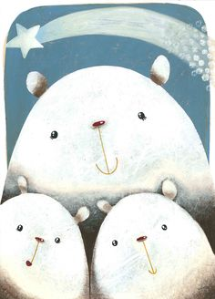 """""""Polar Bears and the Shooting Star"""", illustration for greetings card, acrylic on paper and silk paper collage by Noemi Gambini"""