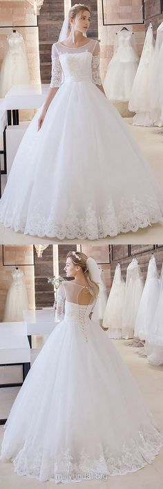 Cheap Wedding Dresses,Ball Gown Bridal Gowns,Scoop Neck Tulle Long Wedding Dress, Appliques Lace 1/2 Sleeve Wedding Dresses Online