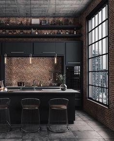 Industrial Kitchen by Caroline Kincheski . Industrial Kitchen by Caroline Kincheski . Loft Interior, Interior Modern, Interior Design Kitchen, Midcentury Modern, Interior Ideas, Urban Interior Design, Interior Lighting, Interior Inspiration, Loft Kitchen