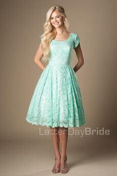 knee length modest prom dresses with lace, the Becki in mint at LatterDayBride