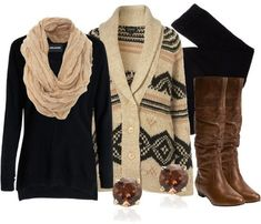 Fall fashion trends, bulky scarves, leather jacket, leather boots, woven sweater