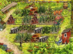 Pettson och Findus i trädgården Fantasy Comics, Anime Fantasy, Love Garden, Garden Art, Botanical Illustration, Illustration Art, Book Illustrations, Nordic Art, Fictional World