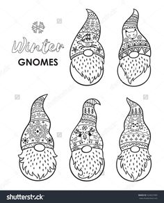 Outline set of Trolls gnomes with beards and long hats. Funny characters for Christmas. Vector set. Coloring book page
