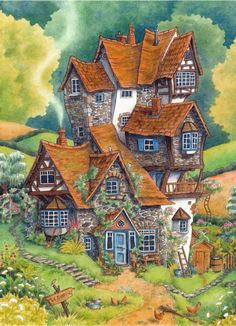 """""""Harry looked out for the first time at Ron's house. It looked as though it had once been a large stone pigpen, but extra rooms had been added here and there until it was several stories high and so crooked it looked as though it were held up by..."""