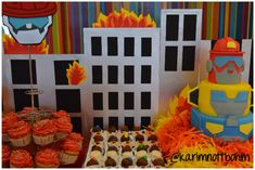 Transformers Rescue Bots DIY party ideas - Candy Table Decor, cupcakes, mini brownies, birthday cake...
