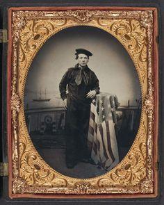 """ A Young Civil War Sailor ""  … Hand Colored Tintype [Circa 1861-1865]"