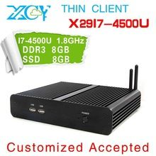 Dual core thin client fanless desktop no noise powerful pc x29-i7 4500u 8g ram 8g ssd HTPC factory mini pc computer