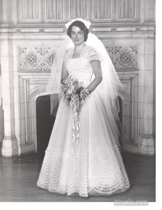 """Terry Kovel's 1950 wedding gown is included in a vintage wedding dress exhibit, """"Tying the Knot,"""" at the Western Reserve Historical Society in Cleveland. It is displayed with Terry's formal wedding photograph, pictured here. But look at the bouquet! 1950 Wedding Dress, Wedding Attire, Wedding Gowns, Bridal Dresses, Formal Wedding, Wedding Ceremony, Vintage Wedding Photos, Vintage Bridal, Vintage Weddings"""