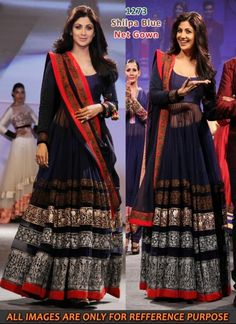 Bollywood diva Shilpa Shetty looks gorgeous in awesome blue anarkali suit during a fashion event. Replica of this designer anrakali suit is build of net in blue color and inner is build of shantoon in blue color. Dupatta is build of blue net with machine embroidery work. This designer anarkali suit can be stitched upto 44 bust size.