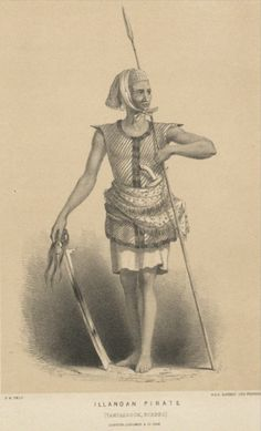 A Sulu pirate carrying a kampeli sword in his hand, a spear and a kris.
