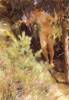 Nude under a fir, 1892, Anders Zorn Size: 100x78 cm Medium: oil, canvas