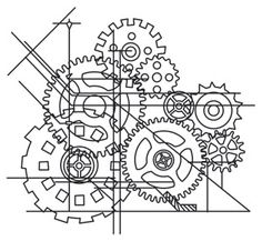 Blueprint Cogs | Urban Threads: Unique and Awesome Embroidery Designs