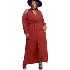ba2481dd59a Red Cold Shoulder Choker Plus Size Maxi Dress LAVELIQ Curvy Dress