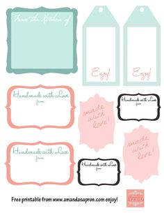 Amanda's Apron - Gift Tags for your kitchen gifts {free printable}