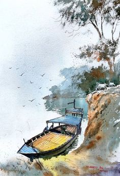 Landscape Painting Artists, Watercolor Paintings Nature, Watercolor Paintings For Beginners, Watercolor Architecture, Scenery Paintings, Watercolor Landscape Paintings, Tattoo Watercolor, Watercolor Trees, Watercolor Animals