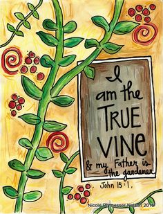 Jesus is True Vine Illustrated Watercolor Print by nicplynel