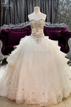 Wholesale New Arrival Bling Bling Crystals luxury A-line Sweetheart cathedral train Ball Gown Wedding Dresses, Free shipping, $579.55/Piece | DHgate Mobile