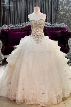 Beautiful jeweled princess ball gown wedding dress | Cute Wedding ...