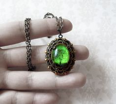 Vintage Style Small Antique Emerald Bewitched Locket Necklace, Jewelry Gift for Valentine, Mother's Day