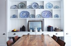 Blue Willow dishes - Eclectic Dining Room by Chris Dyson Architects