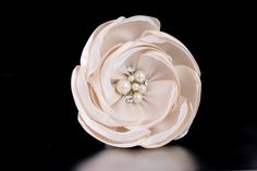 Wedding Flower Clip of Satin and Chiffon with Pearls