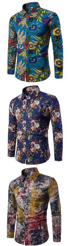 Lapel Ethnic Linen Ethnic Printed Slim Men's Long Sleeve Shirt