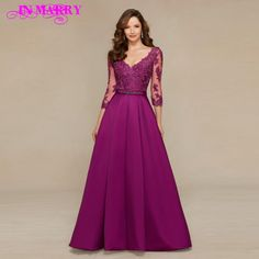 Innovative Design Ball Gown V Neck Plum / Beige Evening Dress 3/4 Sleeves Lace Mother of the Bride Dress Vestidos de Festa 2016