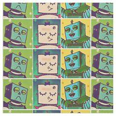 Comic Style Robot Pop Art Patterned Fabric #artwork #robots #kids #fabric #zazzle