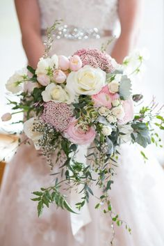 Hottest 7 Spring Wedding Flowers--pink roses, baby breath and white ranunculuses bridal bouquets for outdoor wedding ceremony, wedding reception ideas, wedding flowers. flowers pink Hottest 7 Spring Wedding Flowers to Rock Your Big Day Cascading Wedding Bouquets, Bridal Flowers, Floral Wedding, Wedding Colors, Wedding Ideas, Trendy Wedding, Flower Bouquets, Cascade Bouquet, Perfect Wedding