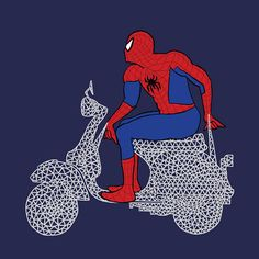 Spider-Man on a webbed scooter. Available as a print and t-shirt on Etsy!