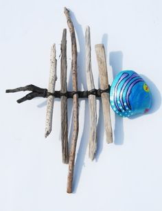 Coastal Cottage Wall Decor, Tropical Wall Art, Blue Whimsical Driftwood Fish, Drift Wood Sculpture. $25.00, via Etsy.