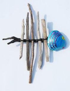 Coastal Cottage Wall Decor, Tropical Wall Art, Blue Whimsical Driftwood Fish, Drift Wood Sculpture. $25.00, via Etsy.
