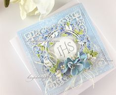 Kartka komunijna First Communion card First Communion Cards, Quilling Work, Explosion Box, Creative Cards, Flower Cards, Cute Cards, Cardmaking, Decorative Boxes, Projects To Try