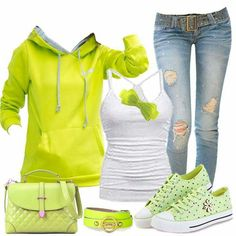I'm not much for lime green but this is actually pretty cute Classic Outfits, Casual Outfits, Cute Outfits, Casual Clothes, Hoodie Outfit, My Outfit, Bright Winter Outfits, Denim Fashion, Fashion Outfits