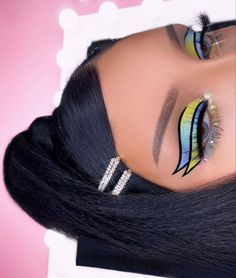 Edgy Makeup, Baddie Makeup, Makeup Eye Looks, Eye Makeup Art, Colorful Eye Makeup, Makeup Inspo, Eyeshadow Makeup, Makeup Inspiration, Makeup Tips